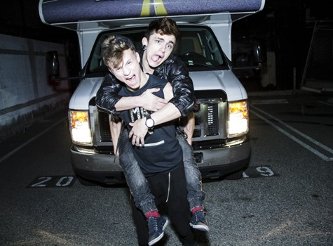 Playful boyfriends Max Ryder and Jake Bass piggy-back riding